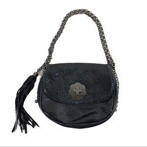 ERIC JAVITS Black Leather Sparkle Glitter Handbag
